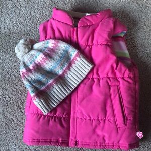 Carters Girls puffer vest and hat